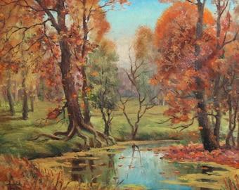 Antique Russian oil painting landscape