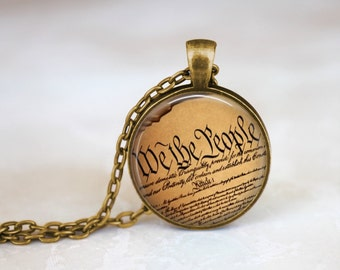 FREE SHIPPING Constitution Necklace, United States Constitutional Rights Art Print Necklace, Home of the Brave America Jewelry, We the Peopl