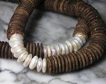 Monk chain Phoenix Teak Mala coconut Charm Dragon 925 pearls Biwa pearl Tahiti