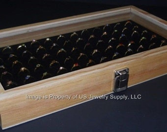 Natural Wood Glass Top 72 Ring Black Jewelry Sales, Display Box Storage Case with Mandrel, Gauge & Jewelry Polishing Cloth