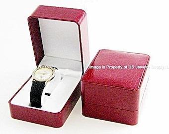 6 Elegant Red Crocodile Pattern Watch Display Gift Boxes