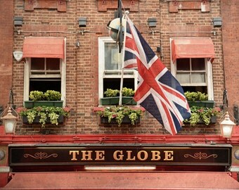 London Pub, London Print, British Decor, London Photography, English Pub, Travel, England, Office Decor, Wall Art, Flag, Union Jack, red