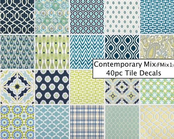 Kitchen Bathroom Tile Decals Vinyl Sticker : Comtemporary Mix