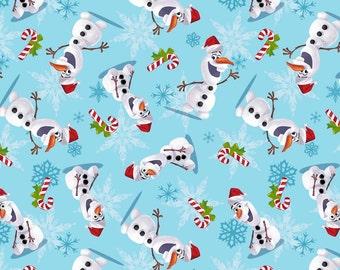 Disney Frozen Olaf Sweatshirt Fleece Holiday Christmas Fabric Snowman *REMNANT