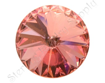ROSE PEACH 12mm Swarovski Rivoli, Wholesale Swarovski Elements Item 1122, USA Seller, Fast Shipping  (Riv-12-RPea)
