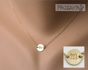 Gold Initial connector necklace,gold filled disc,one initial necklace,tag necklace,monogram necklace,best friend jewelry,birthday necklace
