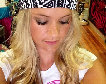 Aztec Print Headband, Tribal Print Headband, Spandex headband, Black & white headband, Stretch headband, Summer headband, Printed Headband,