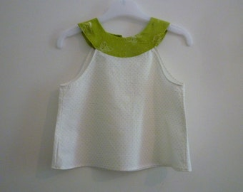 Tunic green white/tunic baby 12 months/tunic butterflies/tunic yoke/top green baby/high white/high butterflies/tunic green peas