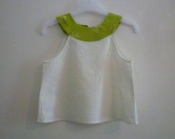 Tunic green white/tunic baby 12 months/tunic butterflies/tunic yoke/top green baby/high white/high butterflies/tunic green peas
