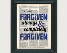 Dr Who Print You Are Forgiven Always and Completely Forgiven The Wedding of Riversong Dictionary Art Print