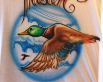 Custom Airbrush Duck T Shirt Freehand, not stencil! hunting, country, men, duck call
