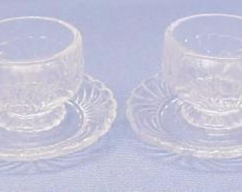 Child's Mini Cups & Saucers (2) Caprice Pattern in Crystal