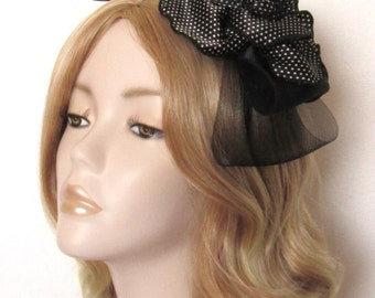 BLACK and WHITE FASCINATOR, Satin polka dot flower, feathers, Crin bow,on Headband