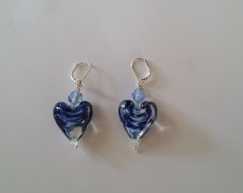 Multi shaded blue heart earrings