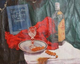 Vintage still life book & goblet oil painting