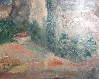 Vintage oil painting mountain scene landscape