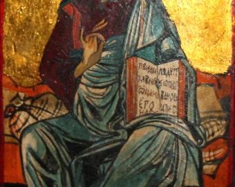 Orthodox Christian saint hand painted vintage icon