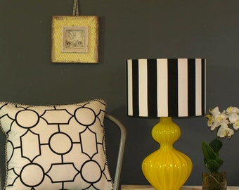 Hand Made Drum Lamp Shade, Black & White Stripe, Available in 2 Sizes 2 Fittings Made to Order in 1 - 2 Weeks