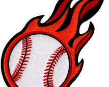 FLAMING BASEBALL PATCH iron-on embroidered major league sports emblem Fastball