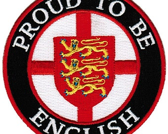 PROUD to be ENGLISH patch embroidered iron-on England Flag biker applique