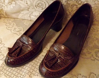 80s Brown Snakeskin Pumps w Leather Tassel Size 8 M Nine and Company