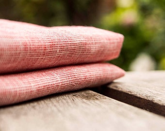 The set of 2 natural linen ,Red linen napkins