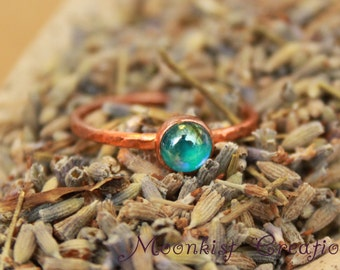 Bohemian Copper Stacking Ring with Rainbow Blue Topaz - Rustic Elegance - Copper Blue Gemstone Ring - Boho Stack Ring - Copper Jewelry