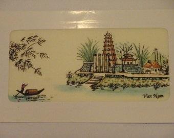 Painted on silk blank card from Vietnam scene. New