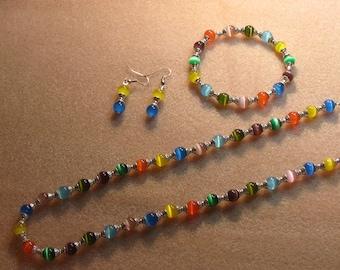 Multicolor cats eye bead jewelry set
