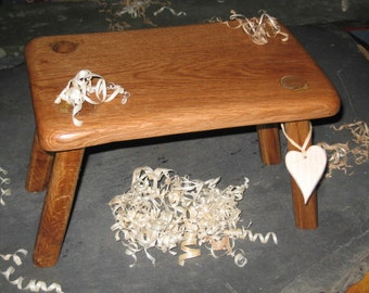 Solid Oak Wooden Country stool made from Local Welsh Oak