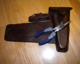 Custom leather wire cutter case for saddle