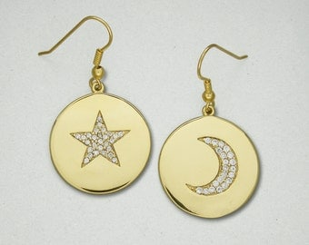 Round Moon & Star Pave Earrings