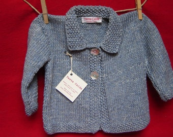 Knitted Cardigan with blue wool kids 12-18 months melange