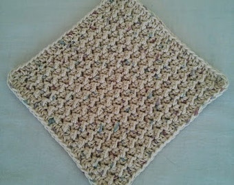 Crochet Wash Cloth, Handmade of 100% Cotton, Natural