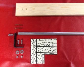 Industrial Style Curtain Rod with Backboard Kit-DIY narrow backboard