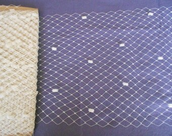 """12""""  Merry Widow/Birdcage SPOT Net Veiling in Ivory, White or Black. By the Meter"""