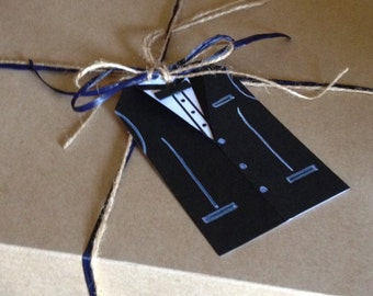 Tuxedo gift tag/groom/groomsmen/wedding/unique/blank