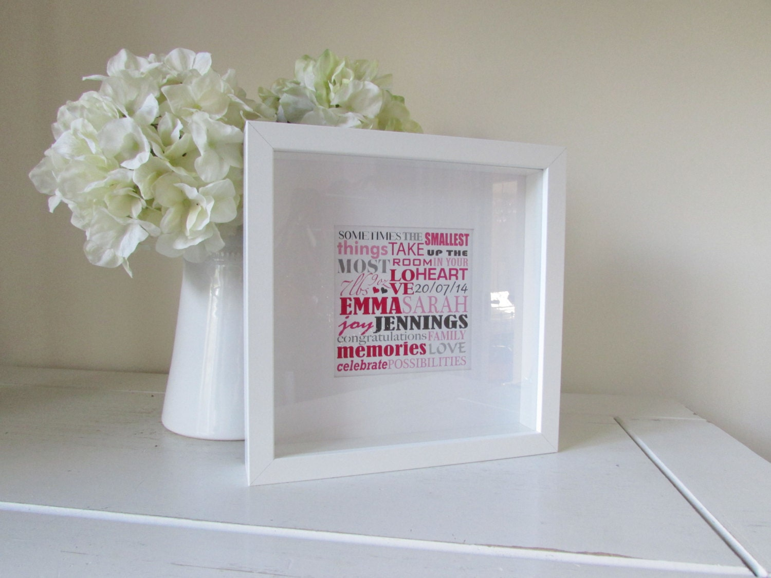 Baby Gifts Unique Uk : Baby girl personalized gift framed print personalised word art