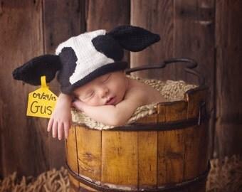 Adorable Original Newborn Cow Hat   designed and created by Pamela Husereau