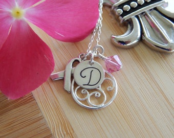 Breast Cancer Survivor Necklace Stamped with Initial, Filigree, Sterling Ribbon Charm and Pink Swarovski Crystal