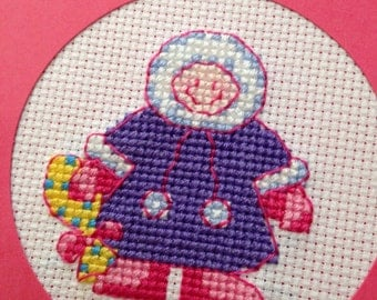 Handmade Cross stitched Eskimo Christmas card