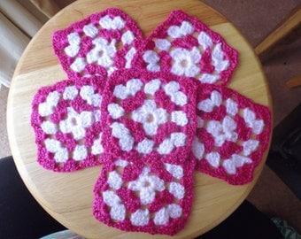 Burgandy and Pale Pink Granny Square Coasters (set of 6)