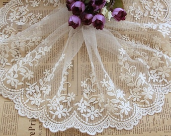 White Floral Lace Trim Embroidery Lace Stiff Tulle Lace Trim  5.9 Inch Wide 2 Yards L05