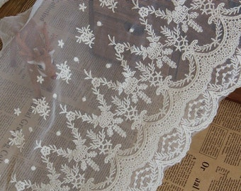 Beige Venice Floral Lace Trim Embroidery Tulle Lace Trim 11.81 Inches Wide 1 Yard L0212