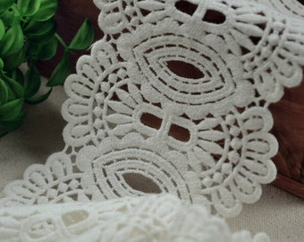White Lace Cotton Trim Embroidery Hollow Out Lace Trim 3.54 Inches Wide 2 Yards K038