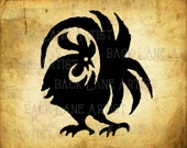 Rooster Chickens Silhouette Clipart Illustration Instant Download PNG JPG Digi Line Art Image Drawing L219