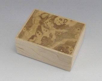 "L773 - Small Lidded Wooden Box - Olive ash burl and maple - 2 3/4""l x 2 1/4""w x 1 3/16""t"
