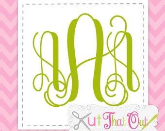 Intertwined Vine Interlocking SVG Font Cut Files