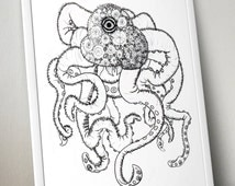 One-eyed Design Squid/Octopus Wall Art Print - 8x10 PDF Instant Download