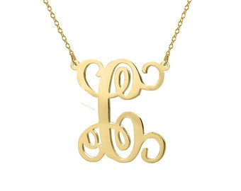 Monogram Necklace 18k gold plated 1 inch pendant single initial made with 925 silver
